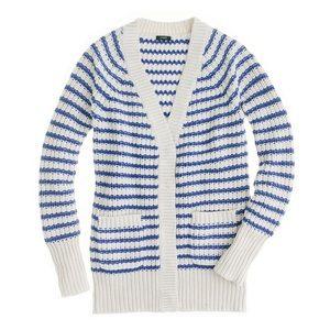 J. Crew white blue striped knit cardigan sweater